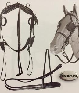 Complete harness carriage leather shetland /mini...