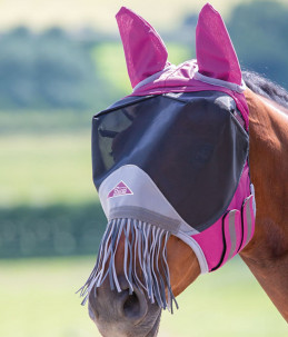 """""""Shires Deluxe Fly Mask"""" model with fringes"""
