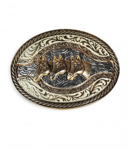 Western buckle model with 3 horse heads